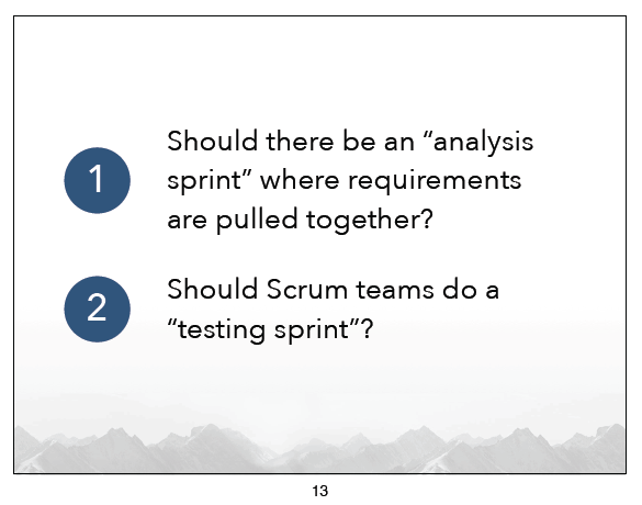 Should 'building blocks' be assigned their own sprint?