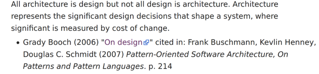Grady Booch's definition of Software Architecture